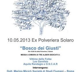 Bosco dei Giusti: messa a dimora alberi