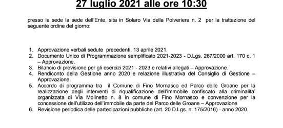 AVVISO DI CONVOCAZIONE DELLA COMUNITÀ DEL PARCO PER IL 27 LUGLIO 2021